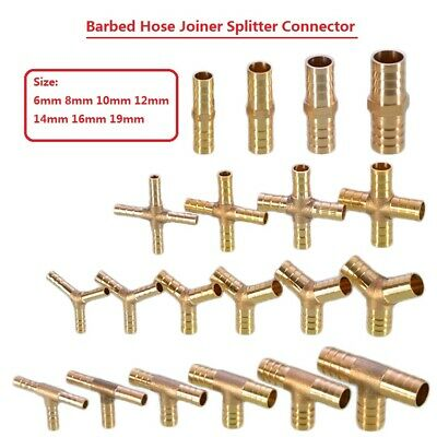 Brass Barbed Hose Joiner Splitter Connector Air Fuel Water Pipe Gas Tubing6-19mm • 3.29£