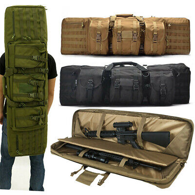 Double Padded Carbine Rifle Gun Bag Sniper Airsoft Case Lockable Multi Pockets • 39.95£
