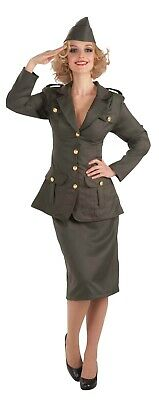 Ladies Fancy Dress WWII Army Gal Costume Military Uniform WW2 World War (AC573) • 26.75£