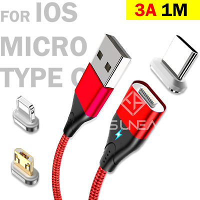 AU9.95 • Buy Magnetic Type C Cable/Lightning/Micro Charger Fast Charging Data Cord 3A 1M