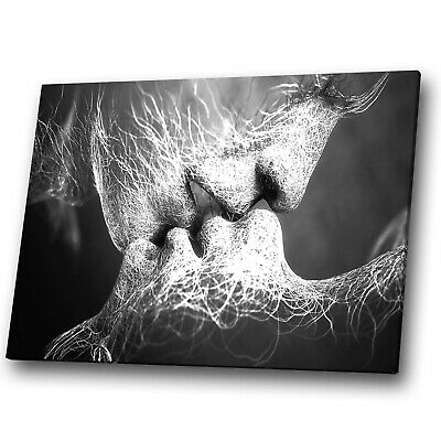 Abstract Canvas Prints Framed Wall Art Picture Black White Grey Kiss People • 34.99£
