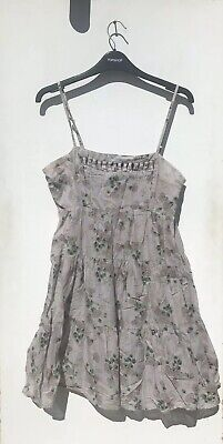 £8.99 • Buy Topshop Size 12 Grey Floral Mini Dress Cami Pleated Green Pink
