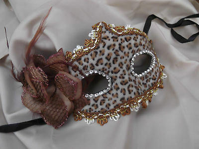 Venetian Masquerade Mask Faux Fur Brown Animal Print With Side Flower Decoration • 5.95£