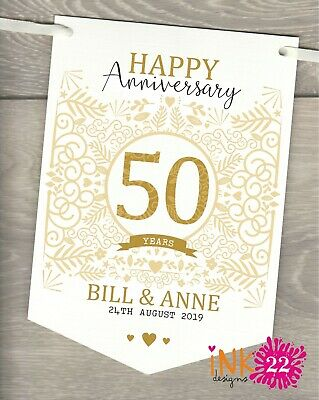 Personalised 50th Wedding Anniversary Golden Party Decoration Banner Bunting • 4.97£