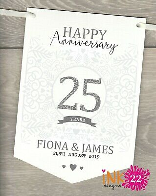 Personalised 25th Wedding Anniversary Silver Party Decoration Banner Bunting • 4.97£