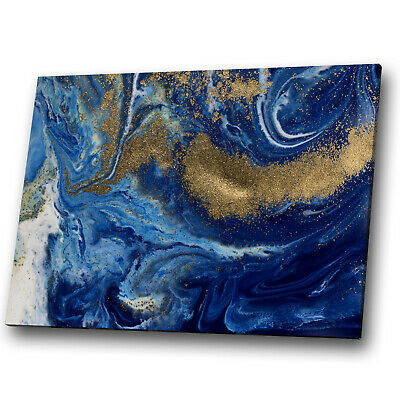 Abstract Canvas Print Framed Wall Art Photo Picture Blue Navy Gold White Cool • 19.99£