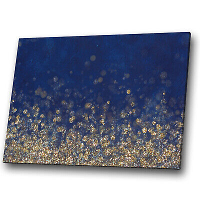 Abstract Canvas Print Framed Wall Art Photo Picture Blue Navy Yellow Gold Cool • 19.99£