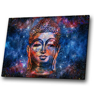 Canvas Print Framed Small Wall Art Photo Picture Woman Buddah Indian Blue Red • 19.99£