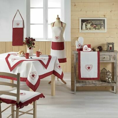 Monlisa French Country Style Heart Embroidered Kitchen Set - Red • 25.50£
