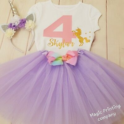 Personalised Birthday Outfit Dress Rainbow Tutu Unicorn 1st 2nd 3rd 4th 5th 6th • 9.99£