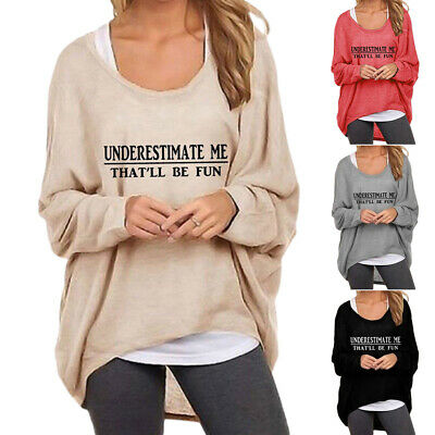 UK Womens Long Sleeve Pullover T-shirt Ladies Loose Casual Tops Jumper Plus Size • 11.30£