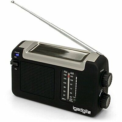 IGadgitz Xtra Wind Up, Solar, & USB Rechargeable Portable AM/FM Radio With 3  • 20£