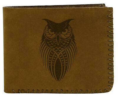 Tribal Owl Tattoo Handmade Natural Genuine Pull-up Leather Wallet MHLT_02 • 20.66£