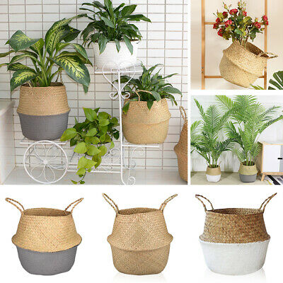 Seagrass Woven Storage Wicker Basket Flower Plants Straw Pots Bag Home Decor UK • 10.99£