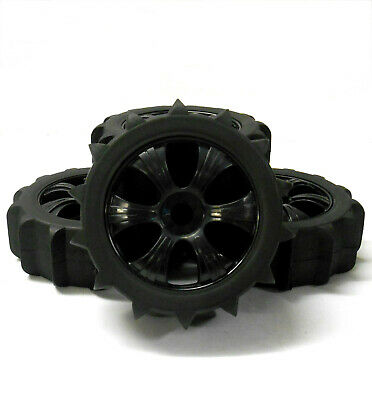 18102 180121 1/8 Scale Sand Snow Buggy RC 6 Spoke Wheels And Tyres Black X 4 • 22.99£