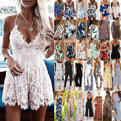 UK Womens Summer Jumpsuit Ladies Shorts / Long Playsuit Holiday Beach Mini Dress • 9.40£