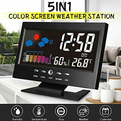 AU23.49 • Buy Digital Desk Alarm Clock Time Display With Thermometer/Calendar LCD Large Screen