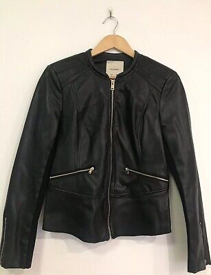 AU34.95 • Buy PULL AND BEAR FAUX LEATHER BIKER JACKET SIZE Large BLACK Gold Zipper Woman's