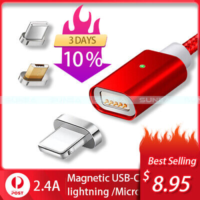 AU8.95 • Buy Magnetic Lightning Cable/Micro USB/Type C Charging Bit Charger IPhone Android