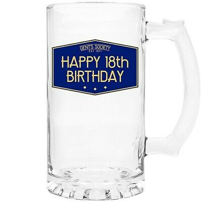Gents Society Happy 18th Birthday Blue Glass Tankard Gift Boxed  • 11.99£