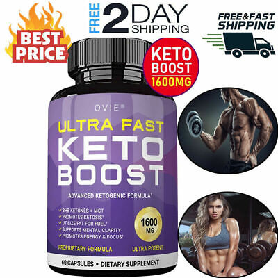 Ultra Fast Pure Keto Boost 1600mg Best Ketosis Ketogenic Supplement 60 Capsules. • 33.33$