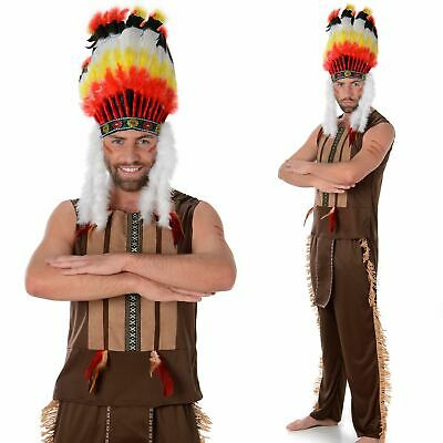 £17.99 • Buy Mens Red Indian Chief Costume Native American Warrior Fancy Dress Outfit