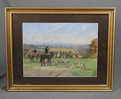 Frank Wright 1928-2016 Hunting Oil Painting Surrey Horses And Hounds • 285£