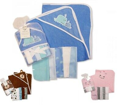 NEW Baby Boys Girls Soft Hooded Towel & Wash Baby Cloths Bath Set Gift Blue Pink • 6.79£