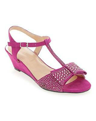 £14.99 • Buy Ladies Extra Wide Fit Eee Magenta Peep-toe Sandals Wedding Party Shoes Sizes 4-9