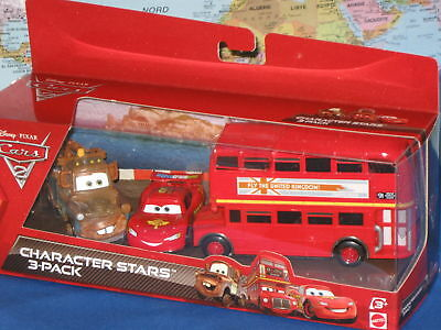$ CDN51.02 • Buy DISNEY PIXAR CARS 2 CHARACTER STARS DOUBLE DECKER BUS, MATER, McQUEEN 3 PACK HTF