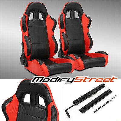 $330.99 • Buy 2 X BLACK/SIDE RED CARBON FIBER PVC LEATHER L/R RACING BUCKET SEATS + SLIDER
