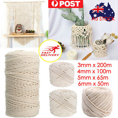 AU15.99 • Buy 3/4/5/6mm Macrame Rope Natural Beige Cotton Twisted Cord Artisan Hand Craft NEW