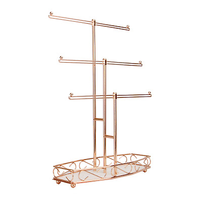 Rose Gold Jewellery Tree Stand Table Top Organiser Jewellery Hanger M&W • 15.49£