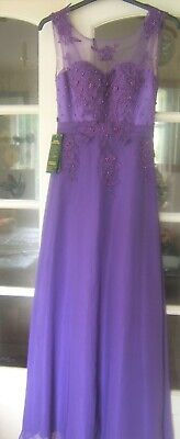 Bnwt Grace Karin Size 8 Long Purple  Maxi Beaded Dress • 30£