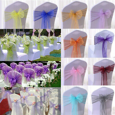 £27.98 • Buy 100 Organza Sashes Chair Cover Fuller Bow Ribbon For Wedding Banque Event Decor