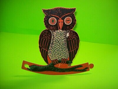 $ CDN37.72 • Buy Vintage Halloween Diecut Winking Owl Tab Stand Up Display 9.5  Paper Decoration
