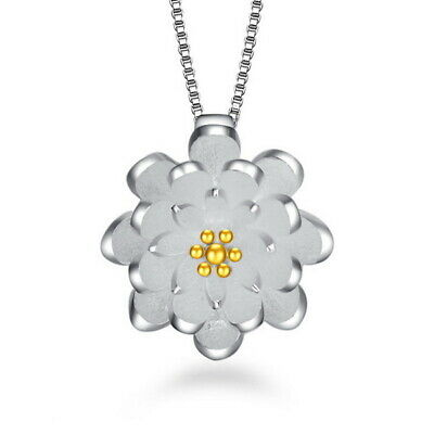 $ CDN2.82 • Buy 925 Sterling Silver Lotus Flower Sweet Fashion Pendant Lady Women Jewelry Gifts