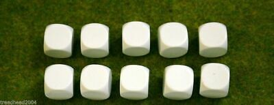 10 X 16mm BLANK SIX SIDED DICE WHITE Wargames Dice Or Casualty Markers • 2.99£