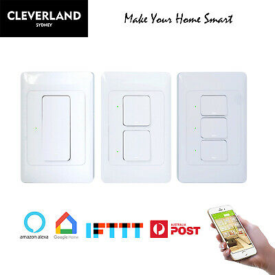 AU36.50 • Buy AU Approved Smart Home WiFi Light Switch Touch Panel 1/2/3 Gang APP Remote Voice