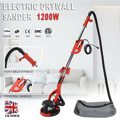 Telescopic Drywall Sander 1200W With LED UK Plugs Dust Free Wall Ceiling Dry • 75.98£
