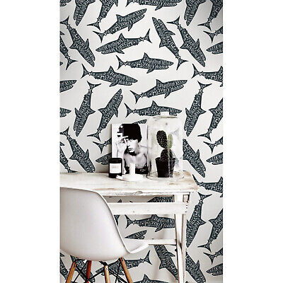 Typography Sharks Fish Removable Wallpaper Easy Stick Self Adhesive Wall Mural • 44.95£