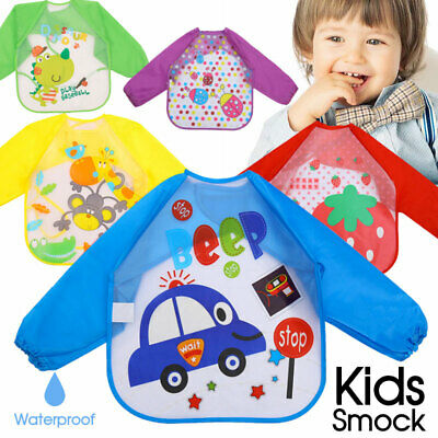 AU5.13 • Buy New Long Sleeve Kids Baby Bibs Bib Apron Waterproof Art Smock Feeding Toddler AU