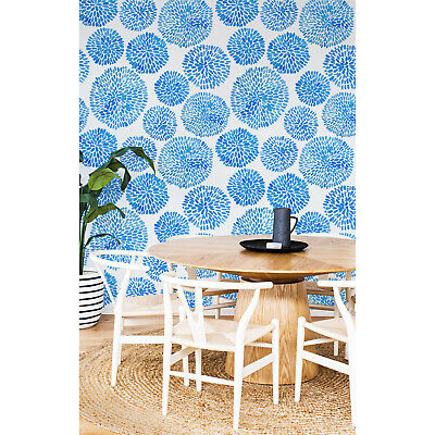 £37 • Buy Japanese Flower Pattern Circles Blue Subtle Home  Traditional Wallpaper Mural