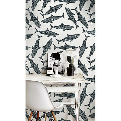 Typography Sharks Fish Non-woven Wallpaper Easy On Traditional Wall Mural • 10£