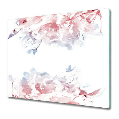 Tempered Glass Worktop Protector Serenity Rose Quartz Floral 60x52 • 29.95£
