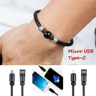$0.99 • Buy USB Leather Data Charge Sync Cable Charger Bracelet For Type-C/Micro USB Android