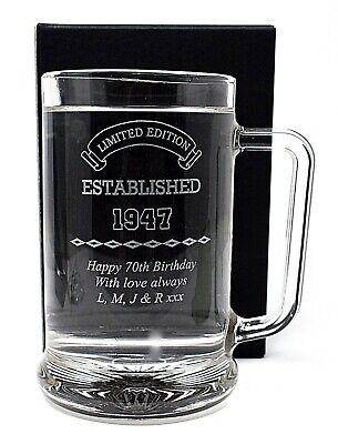 Personalised Established Birthday Pint Glass Tankard Gift 18th/21st/30th/40th • 15.99£