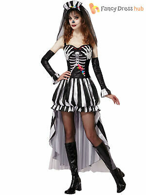 Ladies Skeleton Bride Costume Adult Halloween Day Of Dead Fancy Dress Outfit • 14.45£