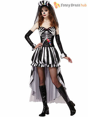 Ladies Skeleton Bride Costume Adult Halloween Day Of Dead Fancy Dress Outfit • 13.45£