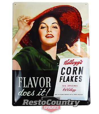 £21.76 • Buy Kellogg's Flavor Does It Retro Tin Sign 30x40 Cave Shed Cereal Brekky